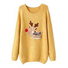 Partiss Womens Deer Pattern Stylish Knitted Sweater,S,Yellow Partiss http://www.amazon.com/dp/B00R12IW7I/ref=cm_sw_r_pi_dp_wf5Jub08072BT