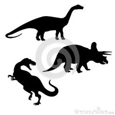 Illustration of triceratops, brontosaurus and tyrannosaurus silhouettes