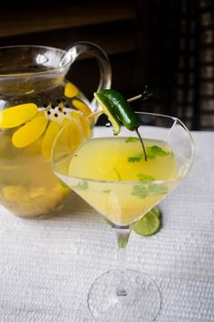 """Grilled Pineapple and Jalapeno Cocktail! ~ (Tip: piss-off the Jalapeno/ Serrano by grilling it too! A spritz of lime, a dash of salt & BAM! ~ now we're talkin'!!! ~ AKA: 'Chiles Toreados"""", in your drink! )"""