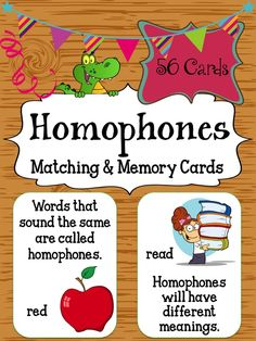 This homophones card set can be used for small group, centers, morning warm-up, etc. They are intended to help students learn homophones. There are a total of 56 homophones word cards with 56 matching definition/meaning cards included in this resource. $3