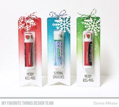 Stamps: Sending Smooches Die-namics: Tall Tag Duo, Lip Balm Window & Frame, Let It Snowflake Too  Donna Mikasa #mftstamps