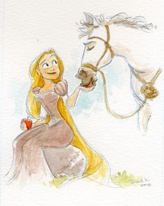 This reminds me of the illustrations of the old Roald Dahl books. whimsical and disorganized and lovely in its own way. And of course, it's Rapunzel!