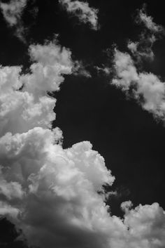 Summer Day Clouds - Black and White Photograph (DSC01393)