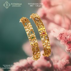 peacock - Buy Gold and Diamond Jewelry gifts Online that are made in India and ship from Totaram Jewelers Online in New Jersey USA Gold Bangles Design, Gold Earrings Designs, Gold Jewellery Design, Gold Jewelry, Gold Necklace, Diamond Bangle, Diamond Jewellery, Arm Bracelets, Jewelry Bracelets