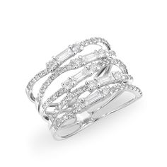 """14KT White Gold Diamond Baguette Stacked Ring Stack measures at approximately 1/2"""""""