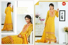 Exquisite  Straight cut Rafel Net and Georgette Semi- stitched suit with thread embroidery in Yellow Color. Comes along with Santoon bottom and Chiffon dupatta.