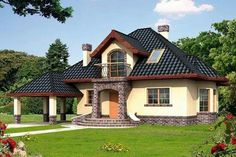 Porodična kuća sa potkrovljem i otvorenom garažom Bungalow Haus Design, Modern Bungalow House, House Front Design, Cool House Designs, Style At Home, House On A Hill, My House, Mexican Style Homes, Architectural House Plans