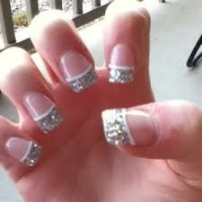 Silver Glitter French with white accent