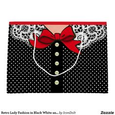 """#Retro Lady #Fashion in Black White and Red Large Gift Bag 0 This cool #gift_bag is sure to tickle the #funny bone of the ladies in your life! Original design by Leslie Sigal Javorek recreates the look of a proper lady of the 1950s dressed for a lunch out with the """"girls"""", wearing a white on black polka-dot dress w/a white lacy """"Peter Pan"""" collar and a tomato red satin scarf tied into a bow at the neckline."""