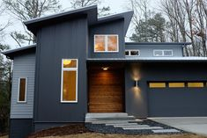 Dark grey and timber