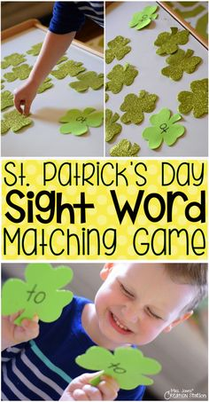 Patrick's Day Sight Word Matching Game - simple hands-on activity for sight words (or letter matching) Sight Word Games, Sight Word Activities, Hands On Activities, Literacy Activities, Sight Words, Easter Activities, Literacy Centers, Preschool Ideas, Teaching Ideas