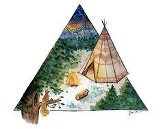 Acampar bajo las estrellas. #ilustración