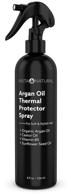 InstaNatural Thermal Protector Hair Spray - Best Heat Protectant Against Flat Iron - With Organic Argan Oil, Castor Oil, Vitamin B5 & Sunflower Seed Oil - Prevents Dryness, Damage & Split Ends - 8 OZ