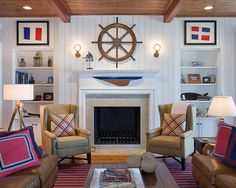 Inspiring Modern Kids Bedroom Decor Using Cool Nautical Themed Furniture: Marvellous Nautical Themed Furniture With Fireplace Brown Sofa Shelving Wall Mounted Lighting Table Lamp Pillows Area Rug Wooden Coffee Table Amazing Nautical Themed Furniture For Kids Bedroom Designs ~ zubujk.com Kids Bedroom Inspiration