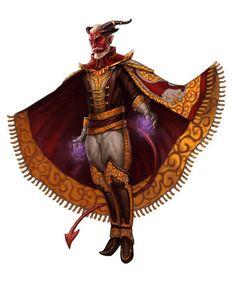 M tiefling sorcerer warlock noble old extravagant