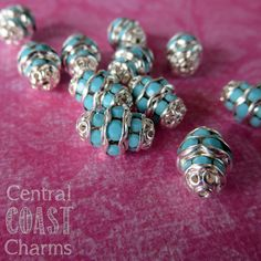 JUST LISTED - 12mm x 8mm Opaque Turquoise Blue Czech Glass Crystal Rhinestone Rondelle Barrel Beads - Central Coast Charms