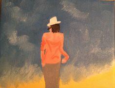 Art woman beach summer oleo