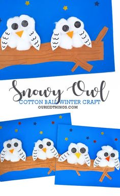 You'll love how the cotton balls make our Cotton Ball Snowy Owl Craft poofy, fluffy, and quite whimsical! It's an adorable winter craft. | Winter Crafts for Kids Winter Crafts For Toddlers, Animal Crafts For Kids, Toddler Crafts, Owl Crafts Preschool, Kindergarten Crafts, Cotton Ball Crafts, Owl Kids, January Crafts, Snowy Owl