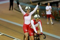 England's Sophie Thornhill and Helen Scott celebrate winning gold in the women's sprint B2 tandem at the Sir Chris Hoy Velodrome