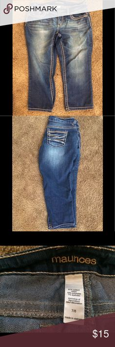 Darker wash slightly distressed capri jeans Slightly distressed Capri jeans, darker wash.  Barely worn.  Excellent condition. Maurices Jeans Ankle & Cropped