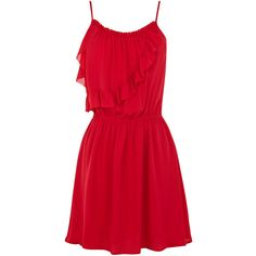 OASIS Strappy Frill Sundress ($30) ❤ liked on Polyvore featuring dresses, vestidos, short dresses, red, strappy sundress, red sundress, short ruffle dress, red ruffle dress and flounce dress