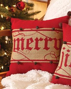 Embroidered Burlap Christmas Pillow Wrap- 11 options | Jane
