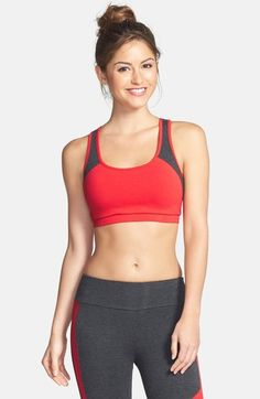 7b301e3e1c746 Solow Colorblock Cutout Back Sports Bra available at  Nordstrom Pilates  Workout