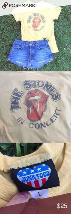 ROLLING STONES Junk Food T-Shirt Awesome ROLLING STONES Junk Food T-Shirt, Pale Heathered Yellow color. Size Large, but runs small, its more of a fitted medium. But can be worn by a small. Great condition, only worn a few times. *Bundle & save 15%!* Junk Food Tops Tees - Short Sleeve
