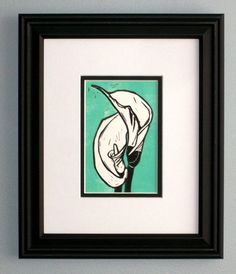 Calla Lilies original linocut print customize by FineArtByLorraine, $30.00