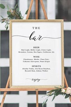 Wedding Cocktail Hour Decor, Wedding Reception Decor, The Bar Sign, Wedding Bar Menu Sign, Wedding Bar Sign, Wedding Sign, Wedding Bar Menu Printable, Drink Menu, Instant Download #weddings #parties #weddingdecor #weddingdresses #bridesmaids #partyplanning