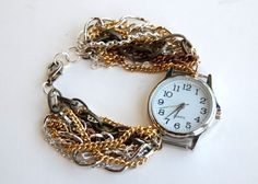 The best tutorials for DIY customized WATCHES - diy: Multi-Strand Chain Watch