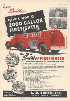 1949 Mack Smithco Fire Truck & Trailer Ad Keystone Hose wl2667-KETIER