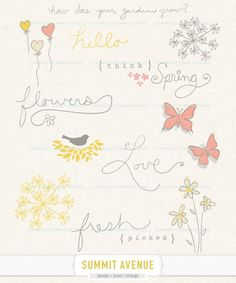 think spring - digital CLIP ART and word art - for photography scrapbook or logo. $5.00, via Etsy.