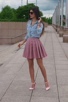 mini pleated skirt with chambray bmodish