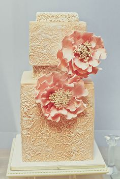 Brides: A Modern Pink Wedding Cake with Unique, Custom-Flavored Tiers