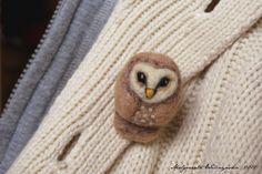 Needle felted barn owl brooch