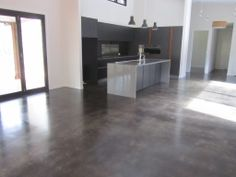 Grind and seal melbourne feather finish polished concrete for Residential concrete floor wax