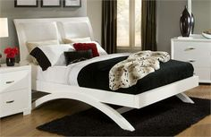 Astrid White Leatherette Platform Bed #contemporary