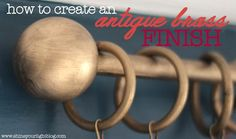 {via} Yesterday I shared with you my DIY ping pong ball-finial curtain rods (try saying that three times fast). Today I'll show you how to create that antique brass finish using paint. This technique works great on wood and plastic. For metal you can pro Gold Curtain Rods, Wooden Curtain Rods, Painted Curtains, Diy Curtains, Rub And Buff, Gold Spray Paint, Chalk Paint, Shine Your Light, D House