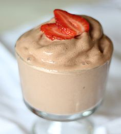 """""""This Chocolate Covered Strawberry Frozen Yogurt may just be the perfect treat to get you through those 'ice cream cravings', all while getting a good dose of healthy protein, and a serving of fruit!"""""""