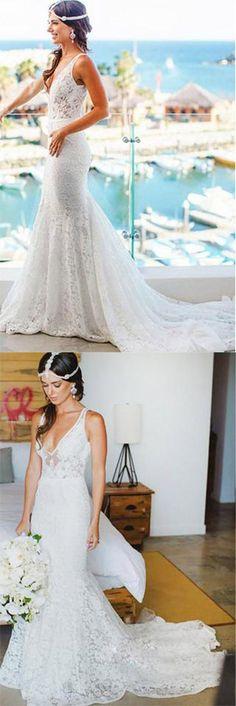 Elegant Mermaid Lace V-neck Court Train Ivory Sleeveless Beach Wedding Dresses UK,#mermaid,#ivory,#lace,#vneck,#elegant,#weddingdressesuk