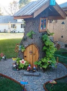 Tree Stump Fairy and Gnome House Creative ways to add color and joy to a garden porch or yard with DIY Yard Art and Garden Ideas Repurposed ideas for the backyard Fun ideas for flower gardens made from logs bikes toys tires and other old junk featured at Fairy Tree Houses, Fairy Garden Houses, Garden Trees, Garden Art, Fairy Gardens, Fairies Garden, Gnome Tree Stump House, Mini Gardens, Tree Stump Decor