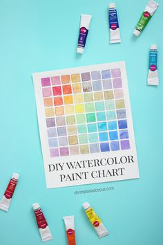 DIY Watercolor Paint Color Chart Tutorial - Learn color mixing to mix colors to match any shade or skin tone with your favorite paints! Also makes a great piece of easy DIY wall art to frame or hang on a gallery wall!