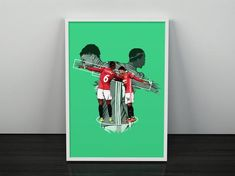 The famous Dab celebration is illustrated here between Pogba & Jesse Lingard. The two stars have made a habit of celebrating in unusual ways including the Catctus and some elaborate handshakes. This illustration is with green background and extra detail  *Frame is not included*  Size Options; Manchester United Poster, Thé Illustration, Pogba, Jesse Lingard, Green Backgrounds, Two By Two, Survival, The Unit, Etsy
