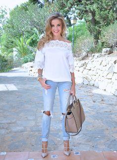 Denim Love[[MORE]] Blpuse: Romwe , Bershka jeans, heels: Valentino bag Michael Kors sunglasses: Steam Roller Fashion By Lola C.