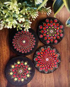 Hand-painted Dot Mandala Set of 4 coasters in shades of Red Mandala Art, Mandala Painting, Mandala Pattern, Mandala Design, Dot Art Painting, Painting Patterns, Stone Painting, Dot Painting On Rocks, Mandala Painted Rocks