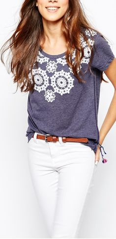 crochet applique top and white jeans