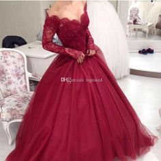 Long Sleeves Burgundy Ball Gowns Evening Dresses Appliques Lace Off Shoulder Princess Prom Gowns Custom Made Women Formal Wear 2016 Cheap Prom Dresses Long Sleeve Evening Gowns Online with 134.0/Piece on Toprated's Store   DHgate.com