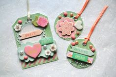 Embellished Tags Decorated Tags Scrapbooking by ArtistsCornerShop