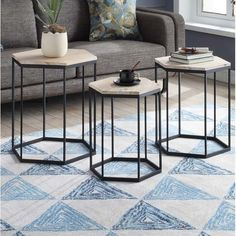 Look At Stromberg 3 Piece Nesting Tables Welded Furniture, Iron Furniture, Bedroom Furniture Design, Steel Furniture, Accent Furniture, Industrial Furniture, Furniture Movers, Home Furniture Shopping, Design Living Room
